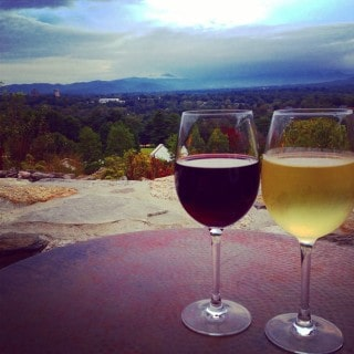 wine on the sunset terrace at the grove park inn