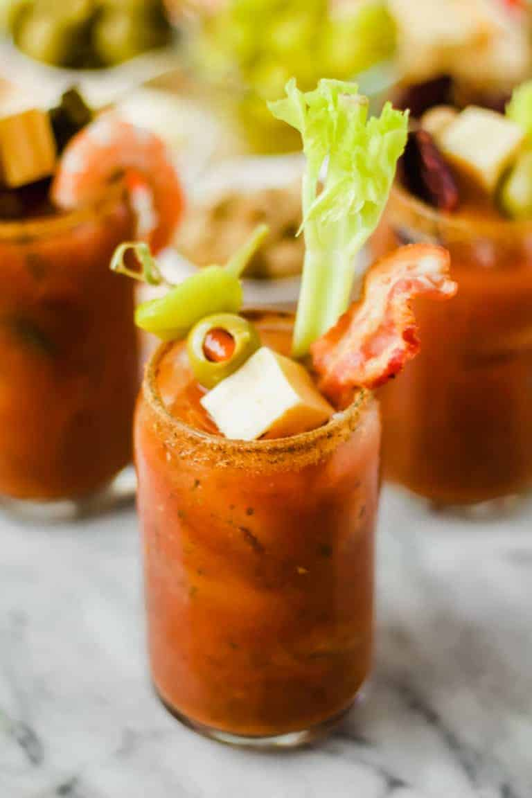 spicy bloody mary made with build your own bloody mary bar ingredients