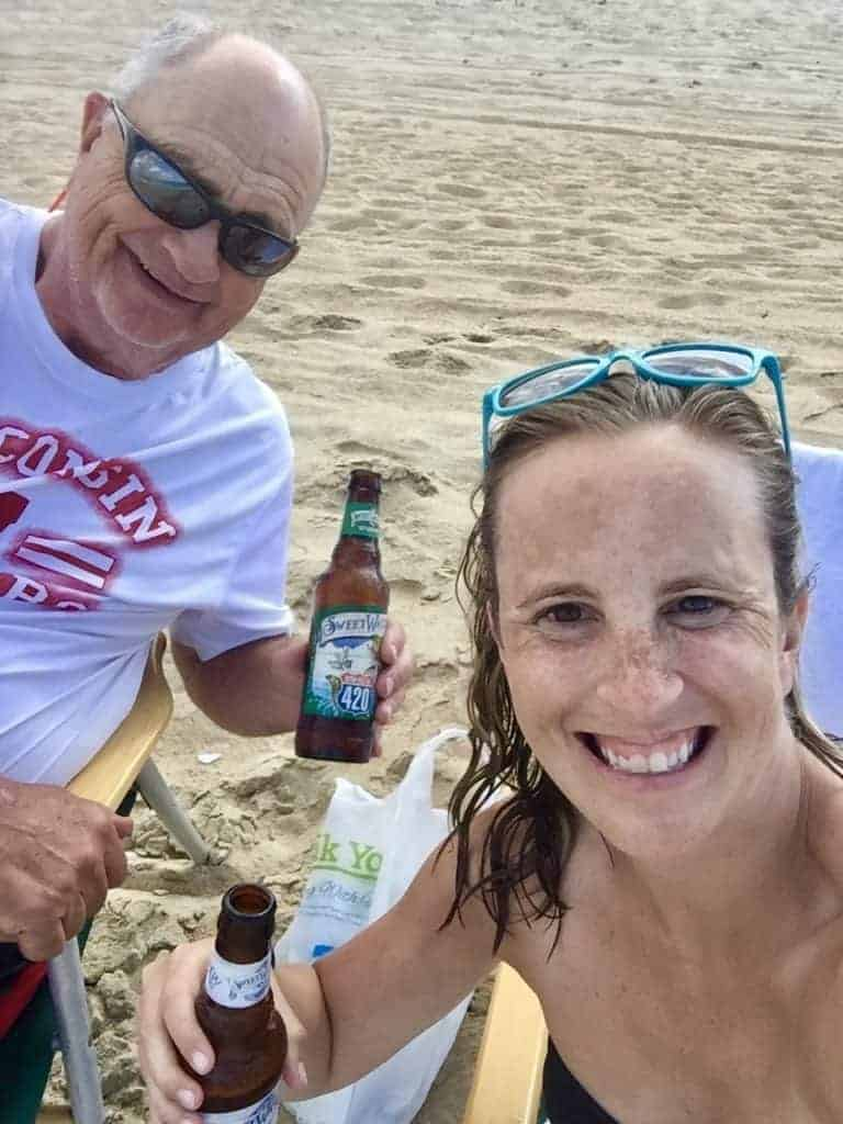 enjoying beers on the beach at the outer banks