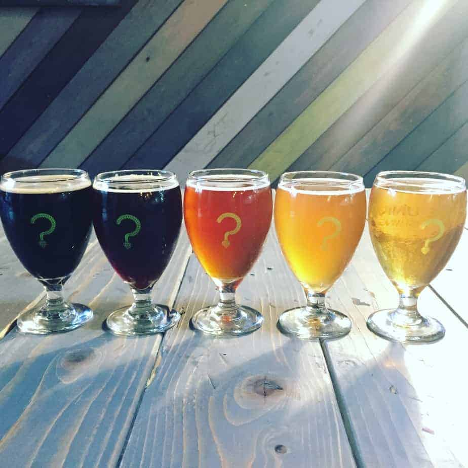 flight at unknown brewing one of charlotte's best breweries