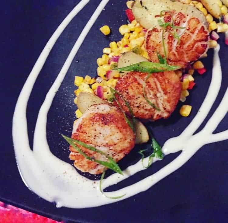 scallops on a black plate with corn, green garnish and white drizzles on the plate