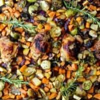 sheet pan chicken with sweet potatoes, brussels sprouts and apples