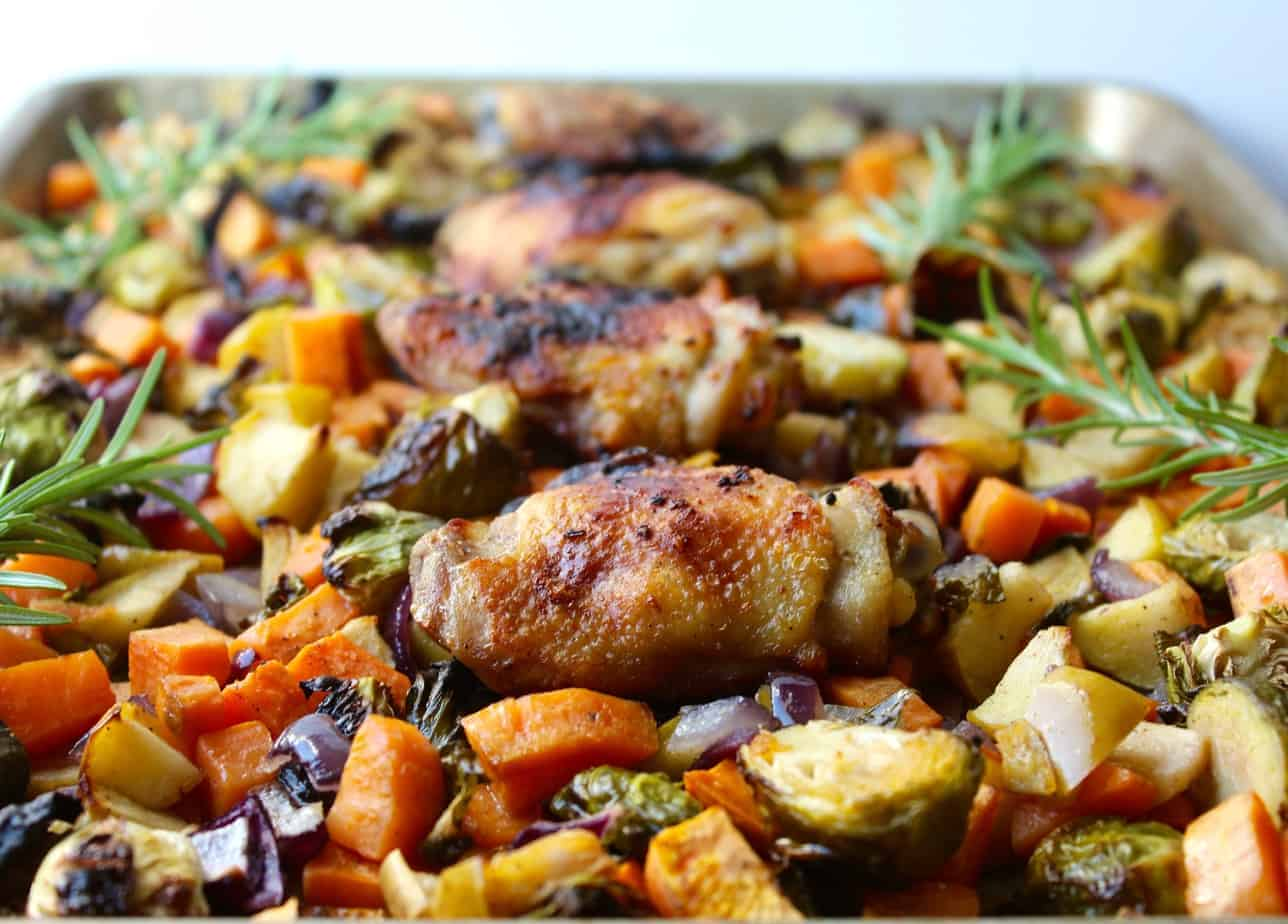 sheet pan chicken brussels sprouts and sweet potatoes