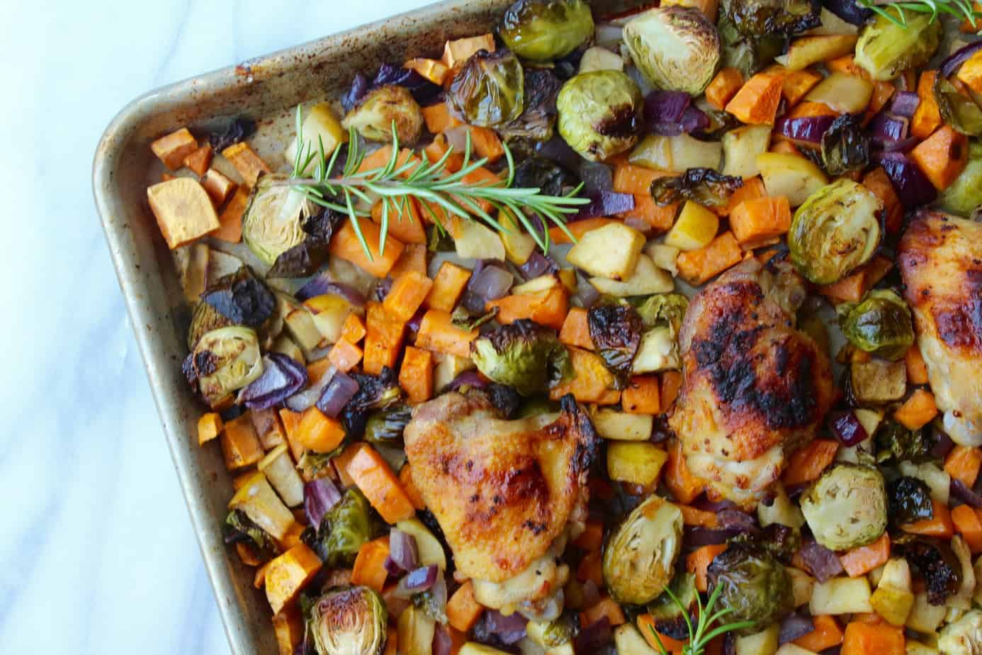 sheet pan chicken with brussels sprouts, sweet potatoes and apples