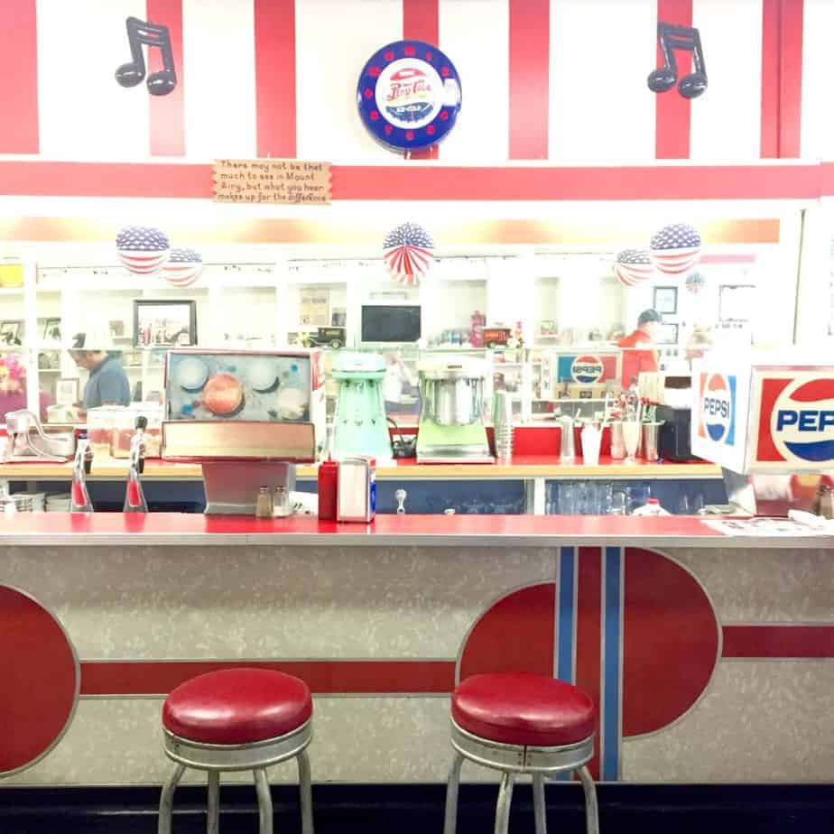 Walker's Soda Fountain Counter in Downtown Mount Airy, NC
