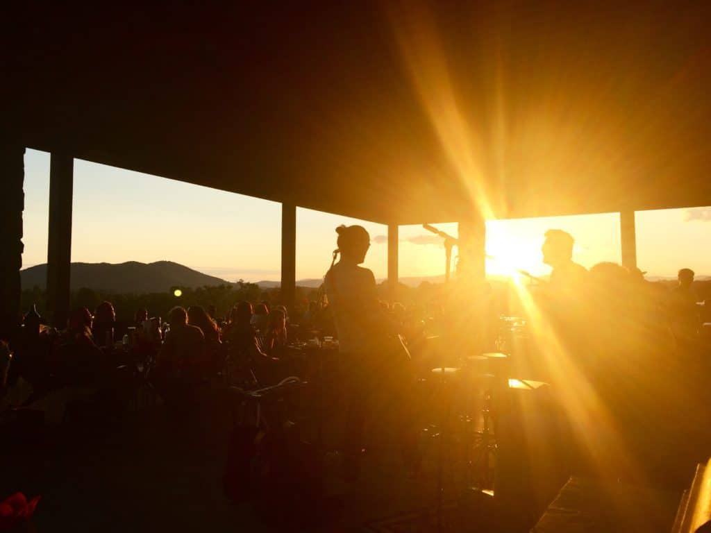 sunset and live band at a north carolina winery
