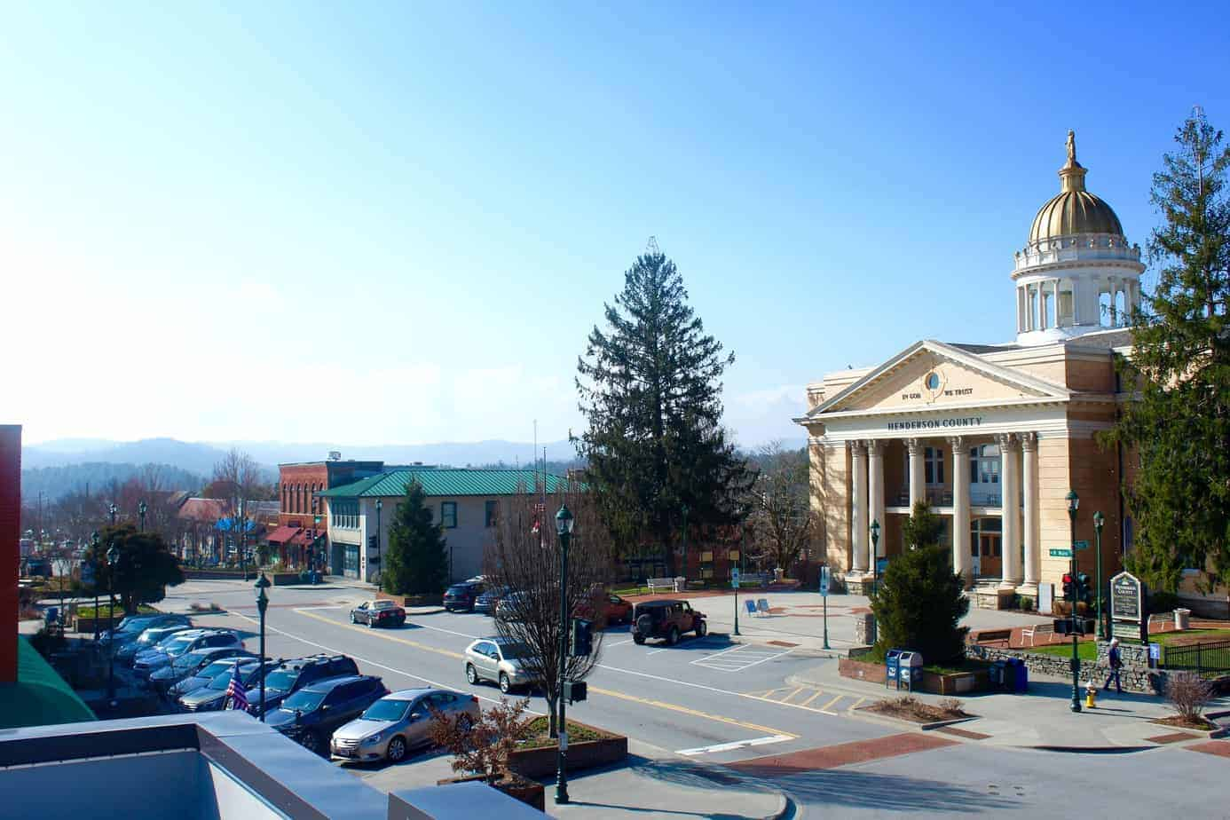 view of downtown hendersonville from new downtown hendersonville restaurant shine