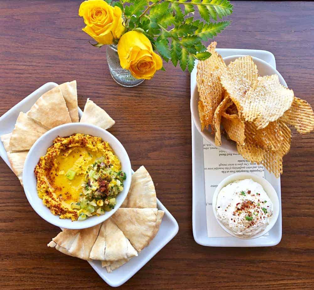 hummus and onion dip at postero hendersonville restaurant downtown