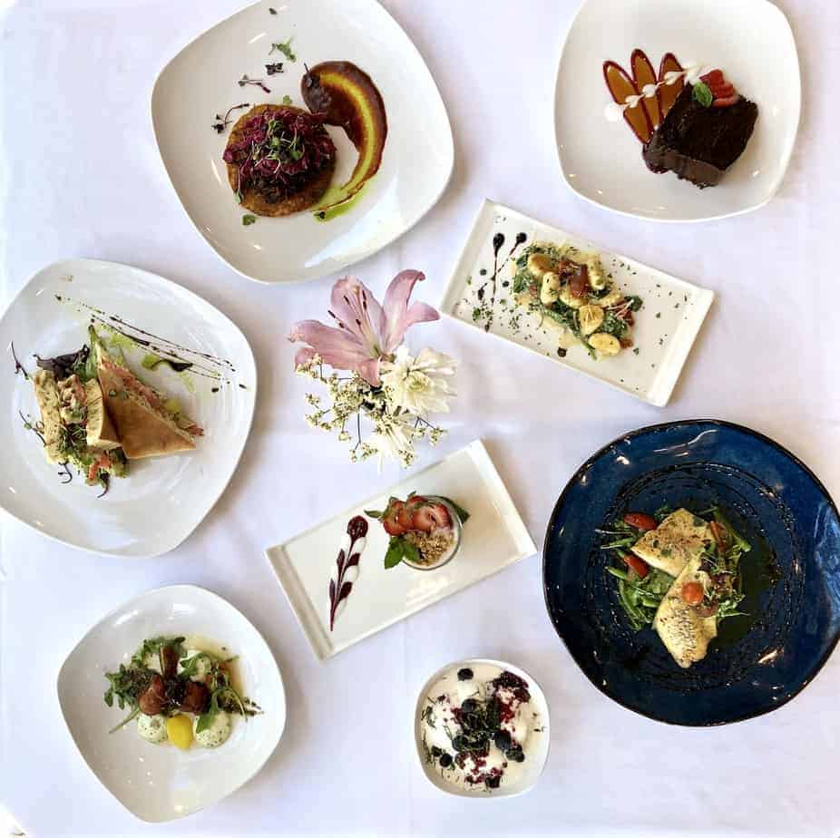 hendersonville restaurant season's at highland lake inn table scape spread