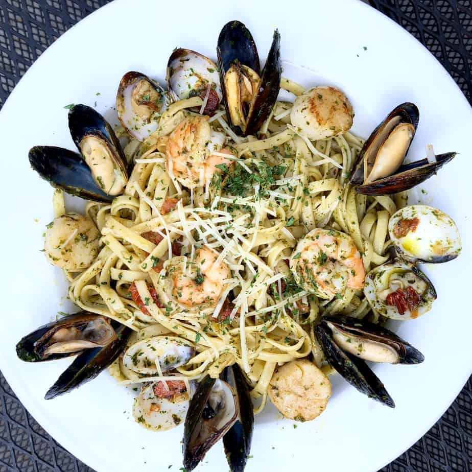 shellfish pasta at the dugout hendersonville restaurant