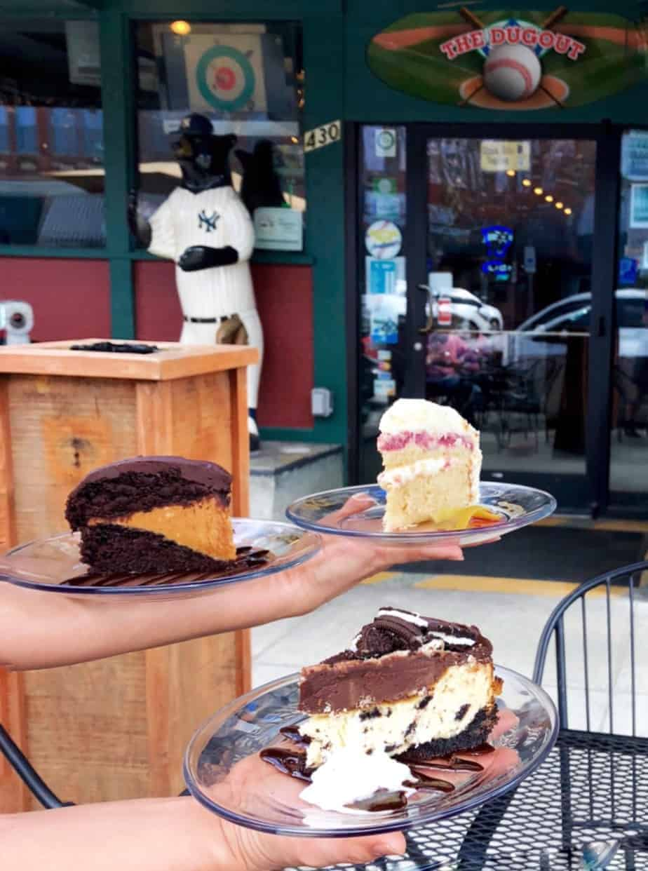 trio of cakes at the dugout taproom downtown hendersonville restaurant