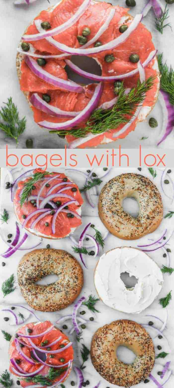 bagels with lox and cream cheese are an easy breakfast or delicious brunch perfect for a quiet weekend at home or a family friendly crowd!