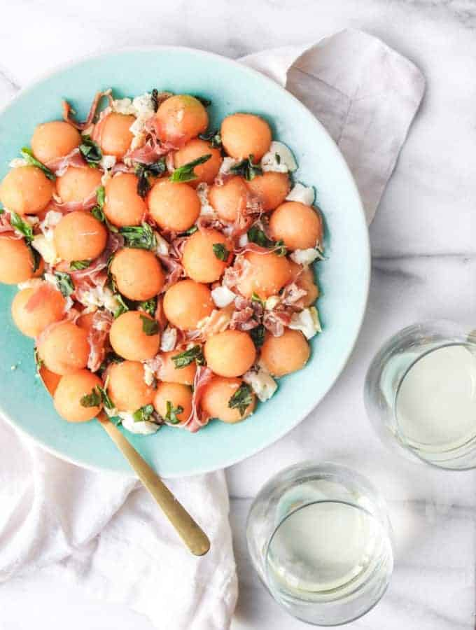 cantaloupe caprese summer salad