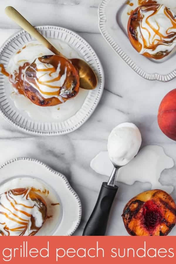 grilled peach sundaes are a simple, summertime sweet treat. grilled peaches topped with vanilla ice cream and salted caramel sauce make an ice cream sundae that's such easy dessert recipe and the perfect dessert for summer!