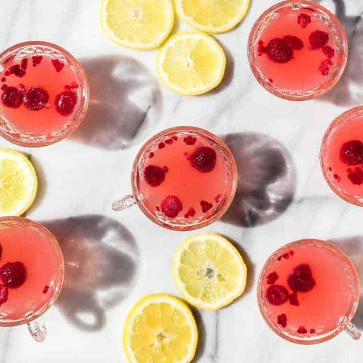 sparkling raspberry lemonade punch cocktail