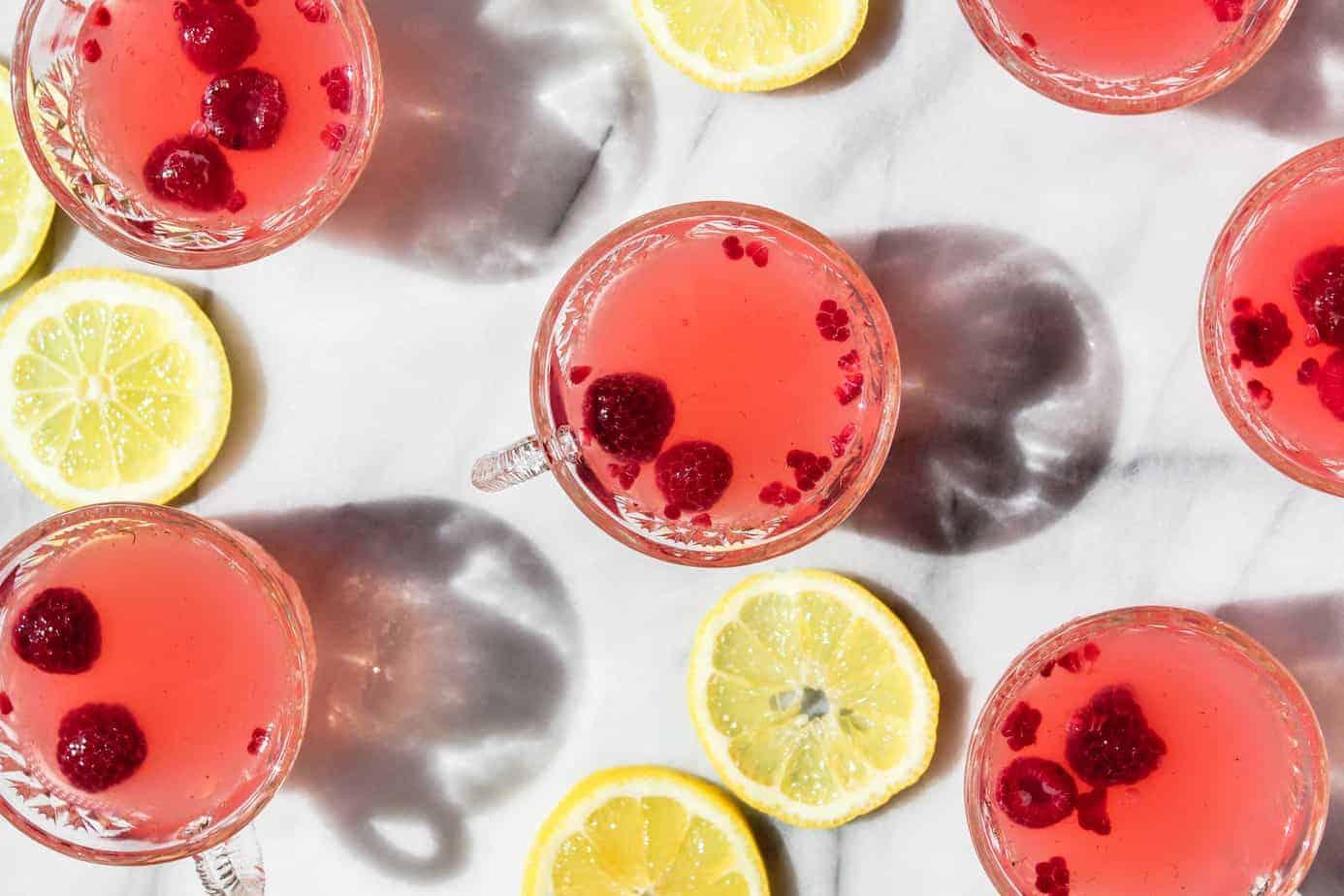 sparkling raspberry lemonade punch for a bridal shower