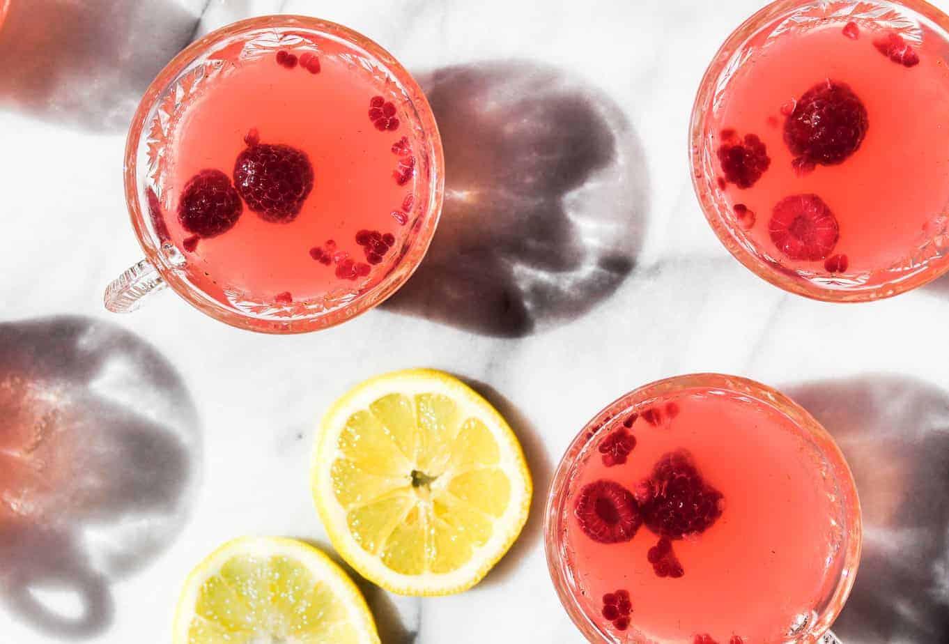 sparkling raspberry lemonade punch glasses