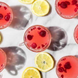 sparkling raspberry lemonade punch mocktail