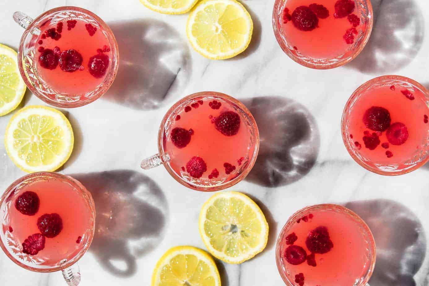 sparkling raspberry lemonade punch mocktail