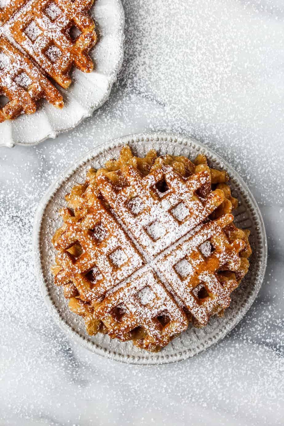 pumpkin waffles with powdered sugar