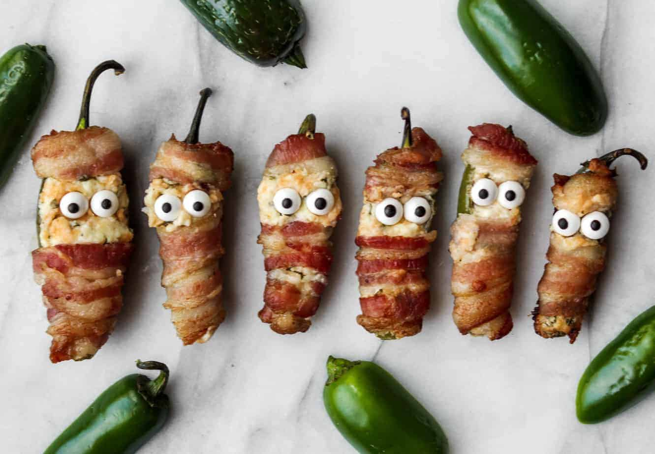 bacon wrapped jalapeno poppers mummies