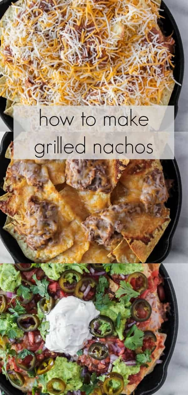 loaded grilled nachos are an easy appetizer sure to be a crowd pleaser! this easy recipe is perfect for football tailgating, game watch parties, game day, or to feed a crowd. layers of tortilla chips and cheese provide a great base to delicious toppings like refried beans, chicken, carnitas, ground beef, salsa, pico de gallo, guacamole, jalapenos and more! load up your cast iron skillet, sheet pan or other grill friendly pan with the ingredients and grill for 5 to 10 minutes to get a everyone's favorite cheesy appetizer: nachos!