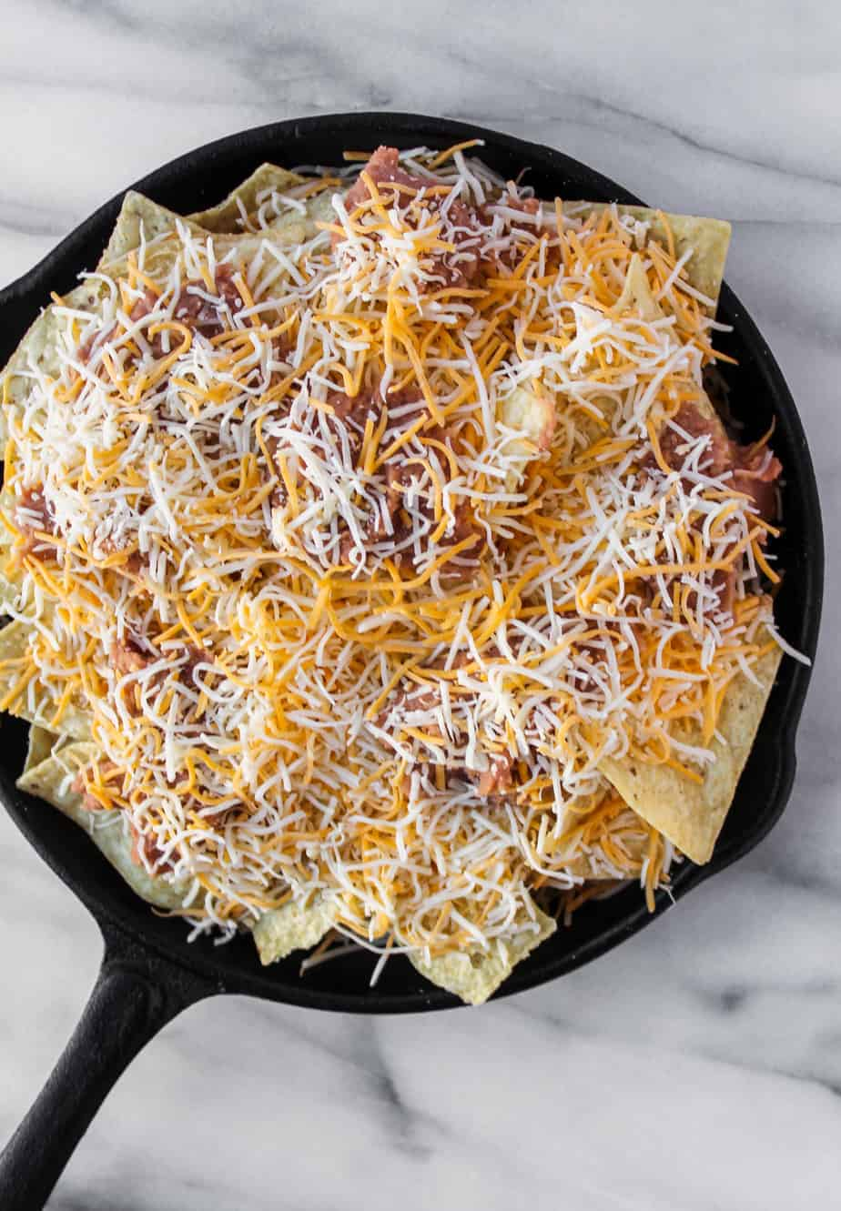 loaded grilled nachos layers