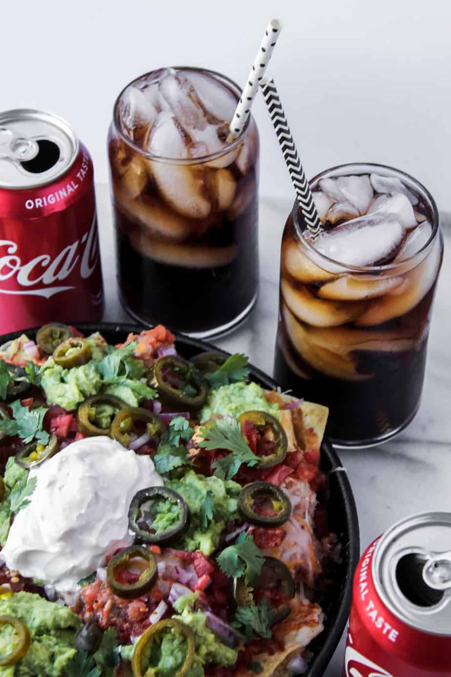 loaded grilled nachos with coke
