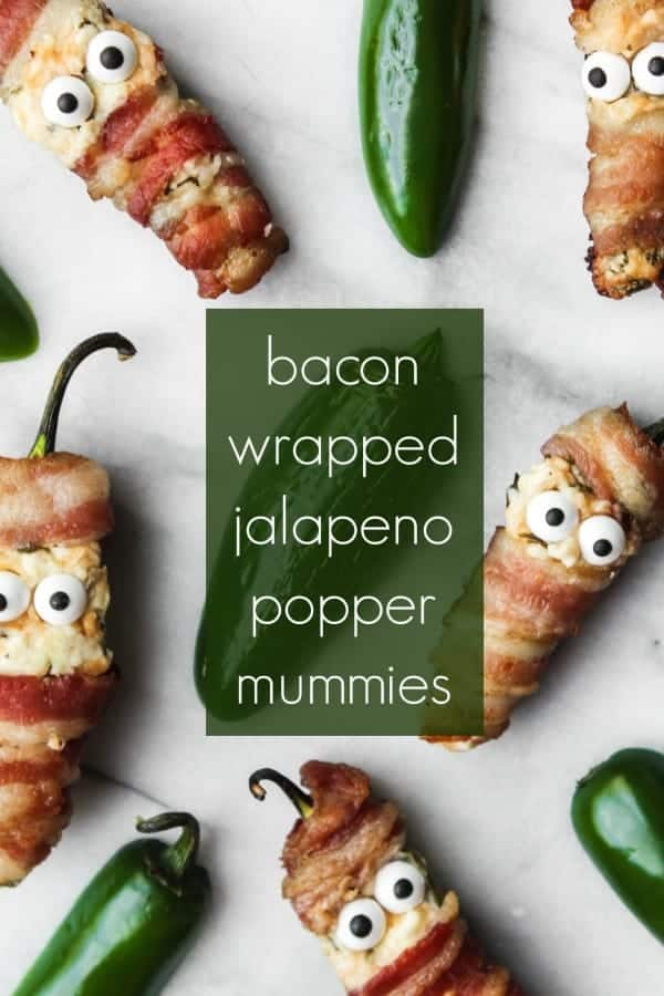 these bacon wrapped jalapeno popper mummies are such a fun and festive halloween appetizer that will spice up your halloween party! this easy appetizer takes less than 30 minutes to make, is easy to make ahead and will be a hit with a crowd. invite these spooky guests to your halloween!