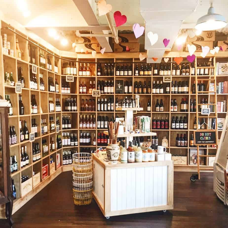 wine section of lincoln's haberdashery great for low key charlotte brunch