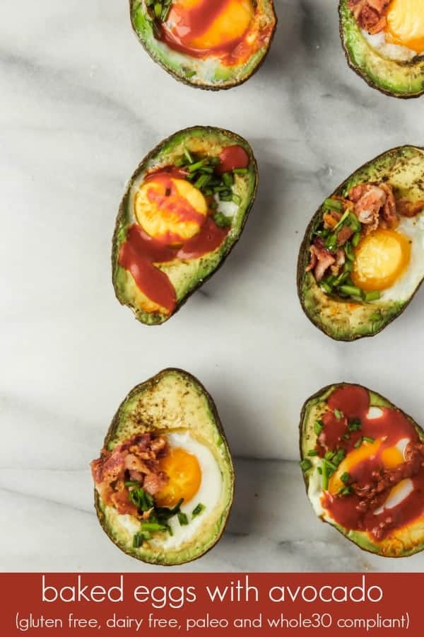 these baked eggs in avocado are an easy and delicious breakfast recipe, perfect for busy weekday mornings! this easy breakfast takes less than 15 minutes to make plus, baked eggs in avocado are gluten free, dairy free, Paleo and Whole30 compliant!