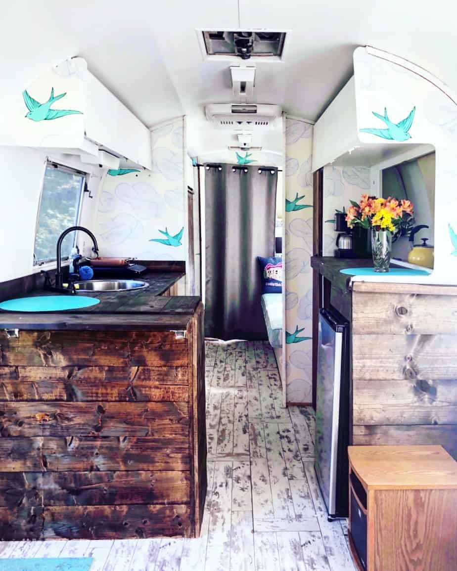 rosie the riveted airstream interior at asheville glamping
