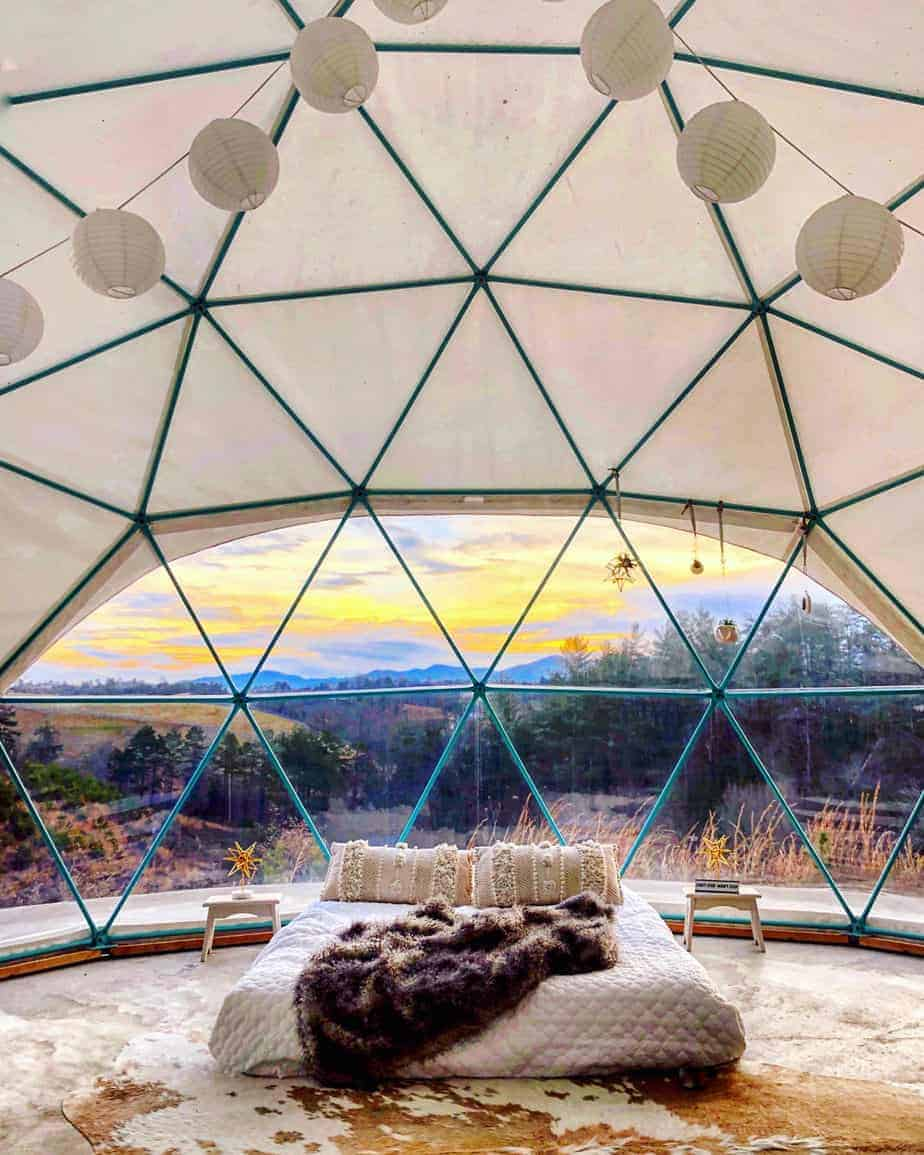 sunrise in dome 2 at asheville glamping