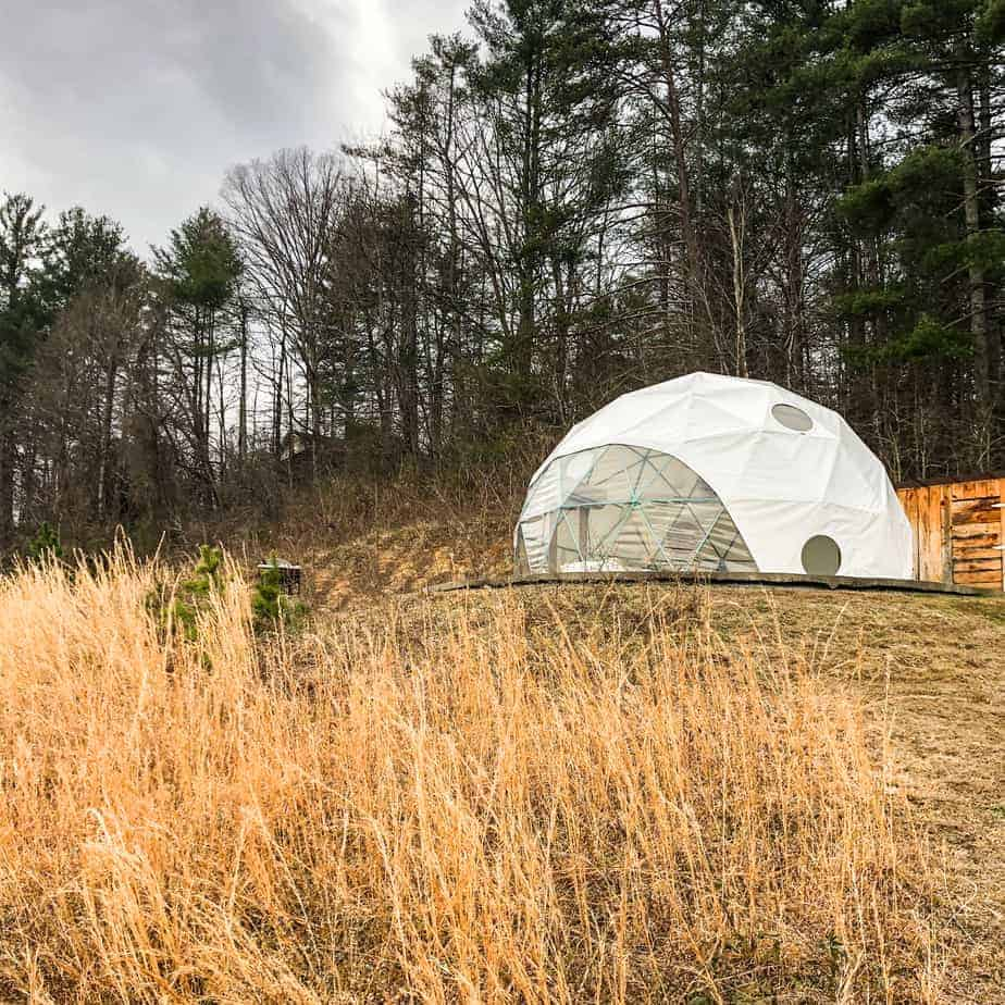 the exterior of dome 2 at asheville glamping