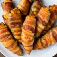 Bacon Wrapped Buffalo Chicken Poppers