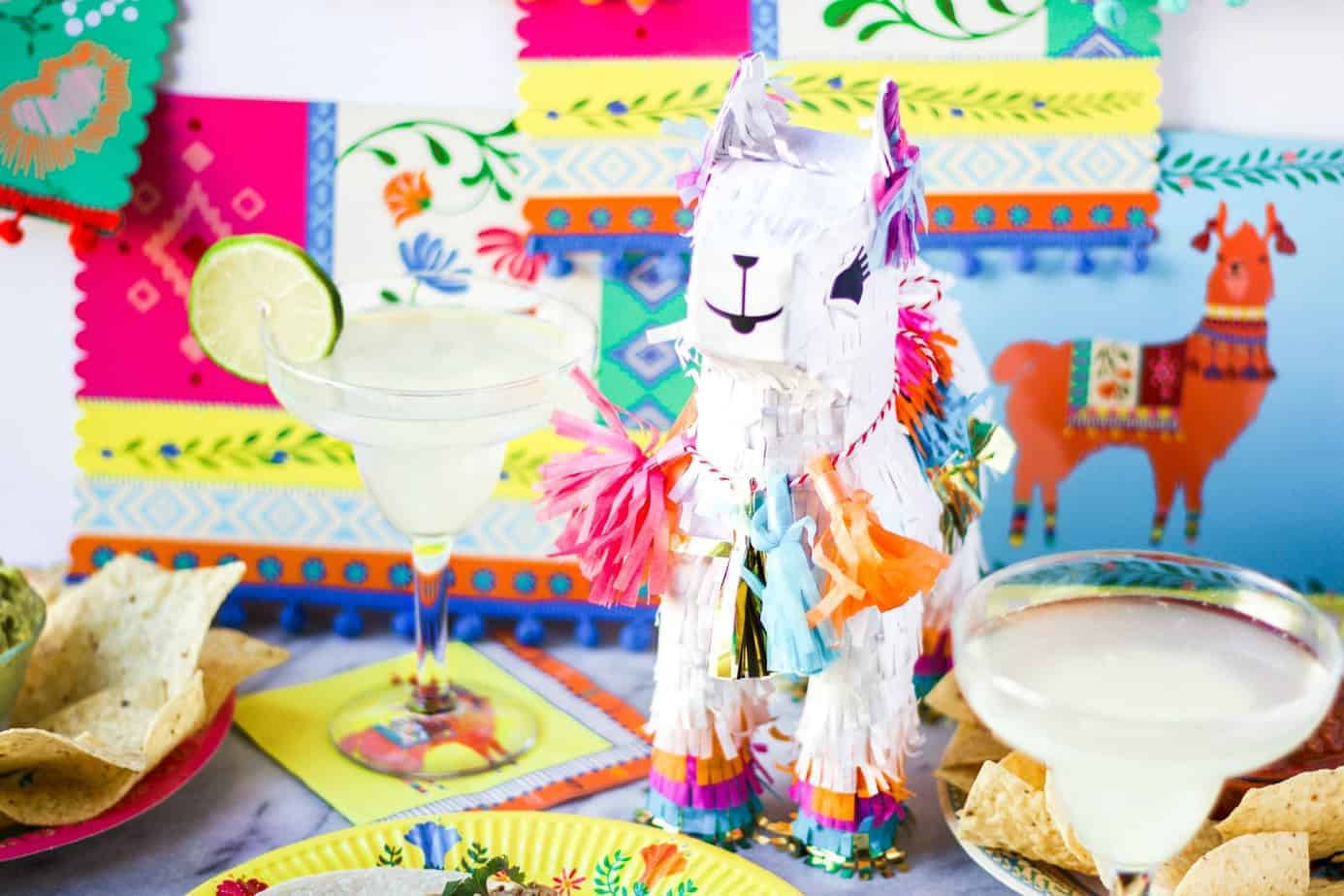 llama pinata and margaritas for a taco bar party