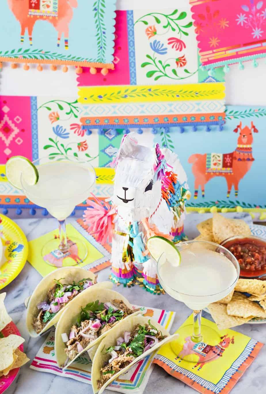 llama pinata, tacos and margaritas