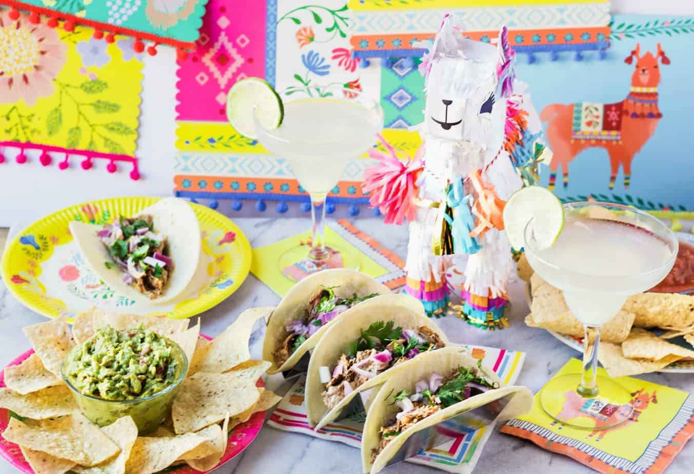 pinata margaritas and tacos