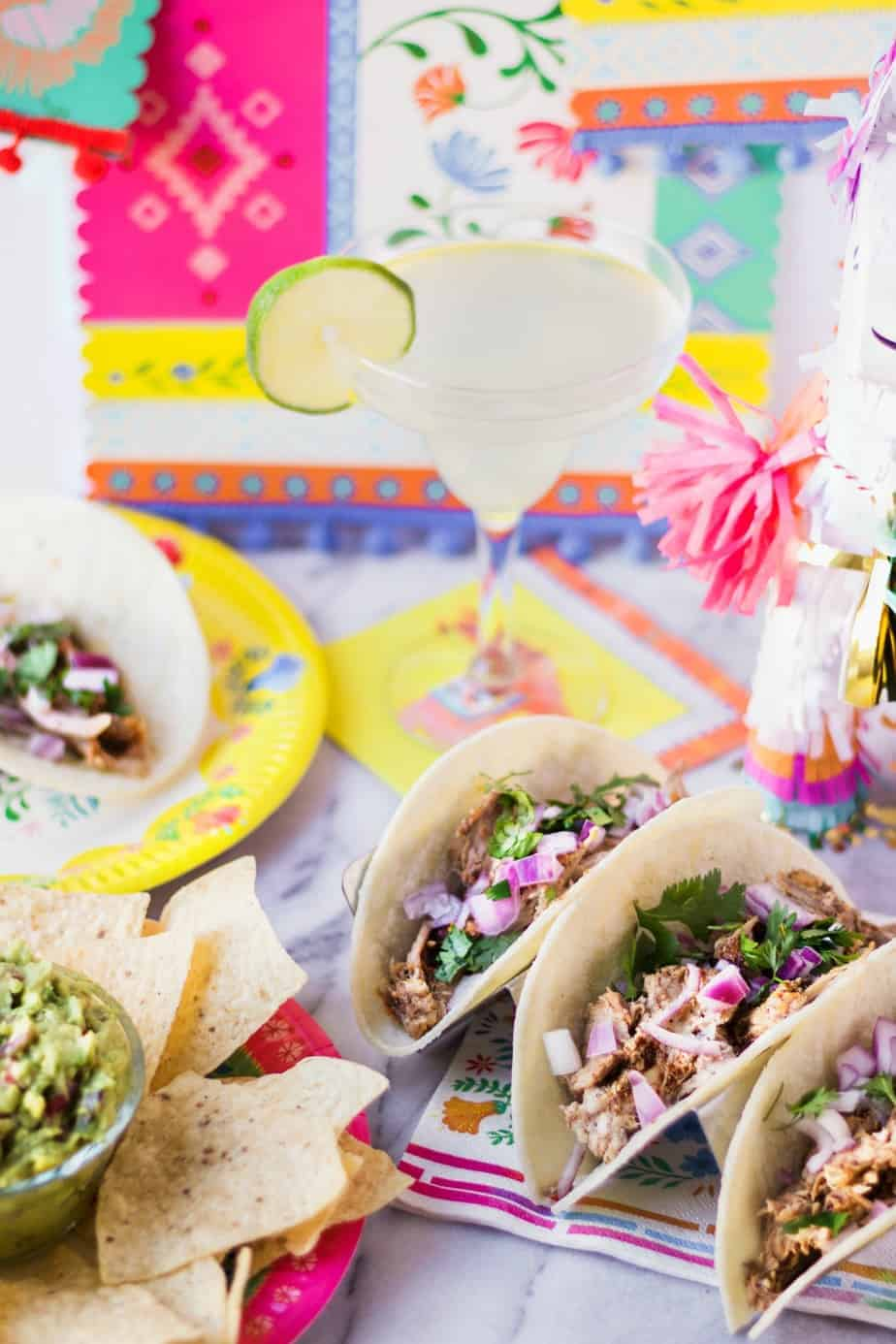 tacos margaritas and guacamole for a taco bar party