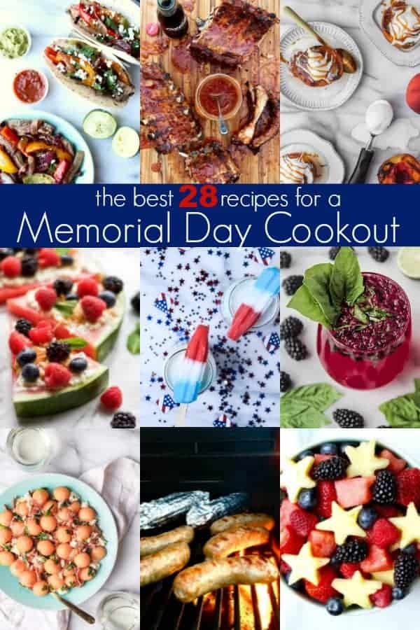 memorial day cookout pin with collage full of different recipes