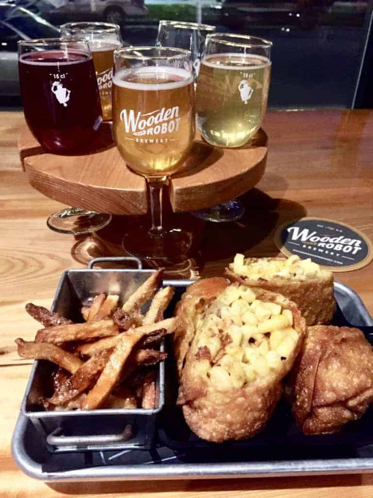 food and flight at wooden robot