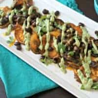 Baked Sweet Potato Nachos with Avocado Cilantro Cream