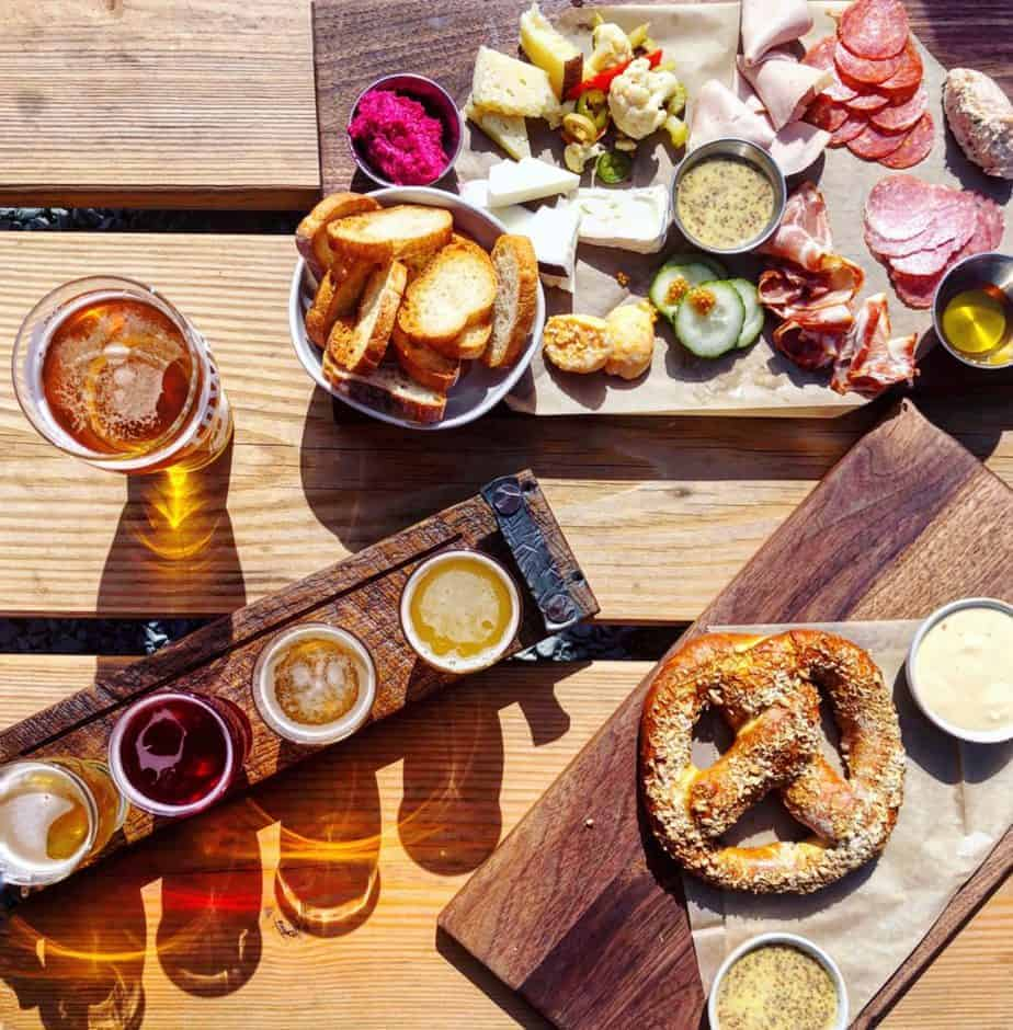 cheese board and pretzel at town brewing a local charlotte brewery with food