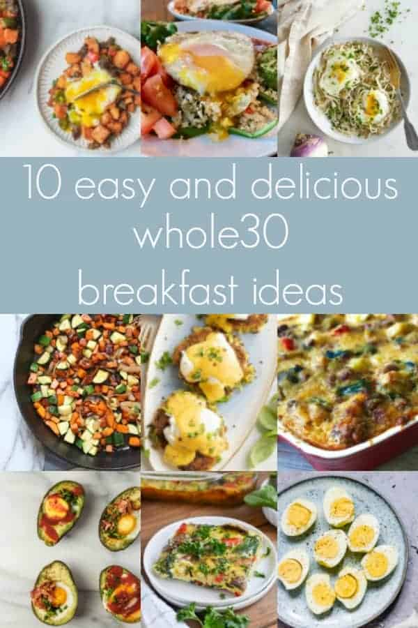 collage of whole30 breakfast recipes