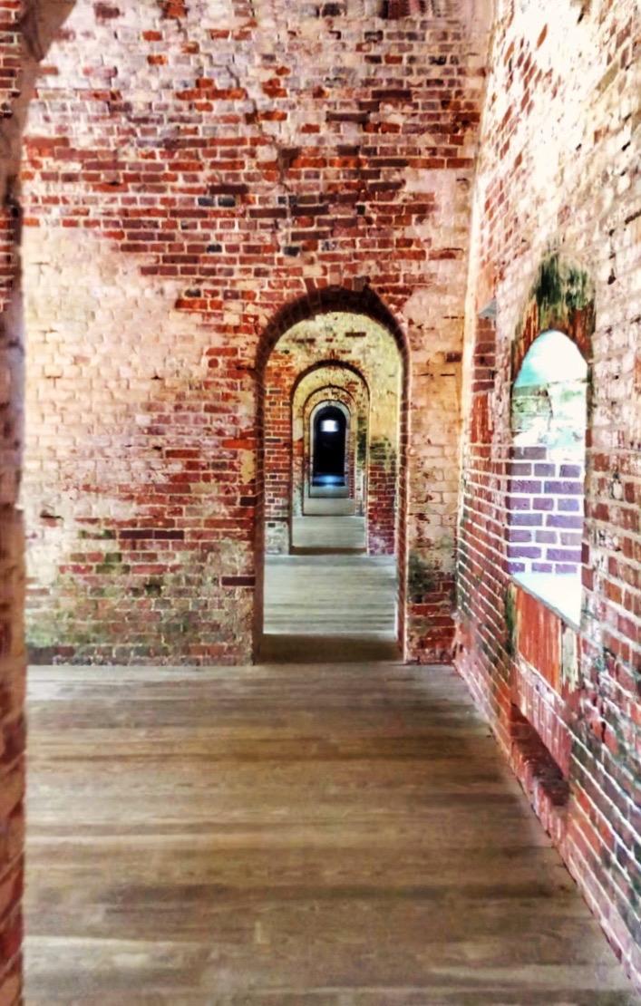 restored red brick walls inside historic fort macon near beaufort nc