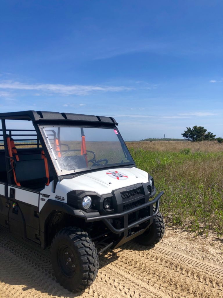 white 4WD vehicle used to explore cape lookout national seashore