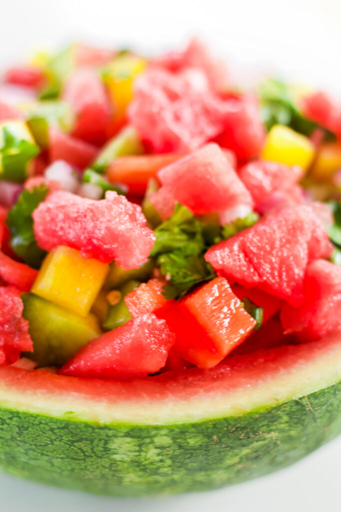 homemade watermelon salsa in a green watermelon bowl