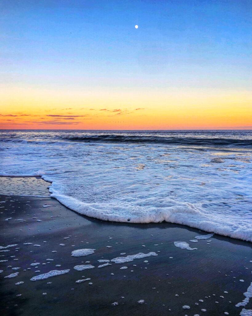 atlantic ocean at sunset near duck nc